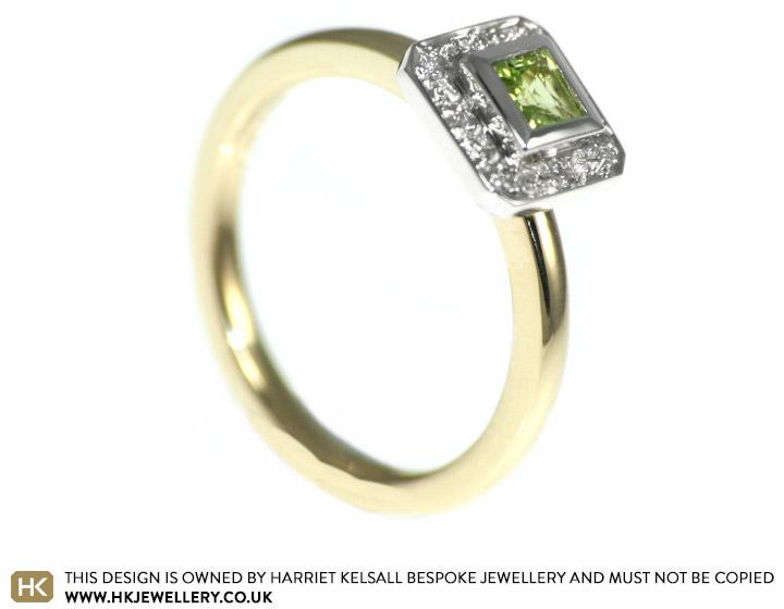Lisa S Peridot Engagement Ring With Pave Set Diamonds