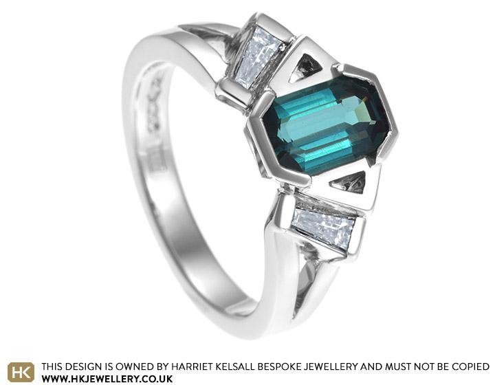 Teal Tourmaline And Diamond Art Deco Style Platinum Engagement Ring