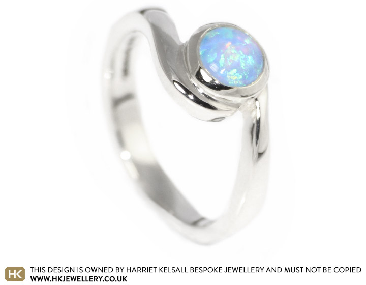 rings cabochon opal gold white ring specifications a with cut central engagement