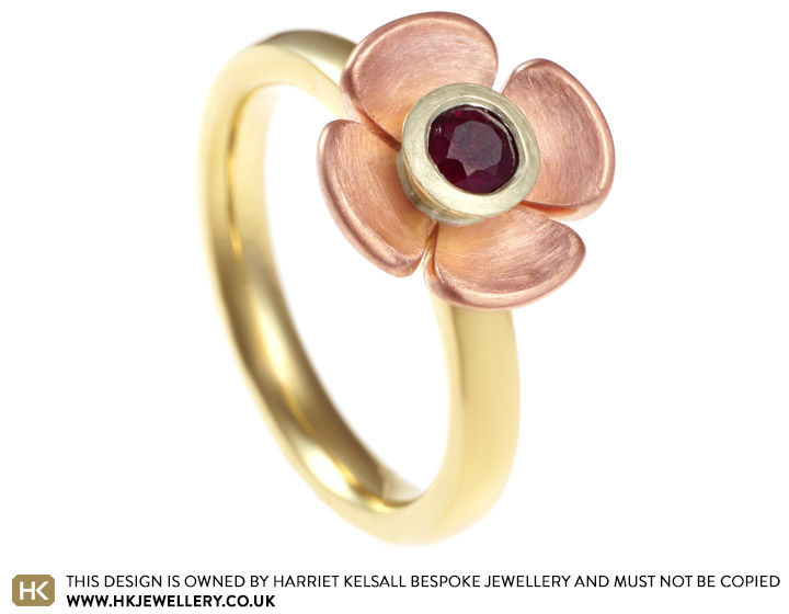 2937a8fac3a4ec Sophie's bespoke poppy inspired ruby and gold engagement ring