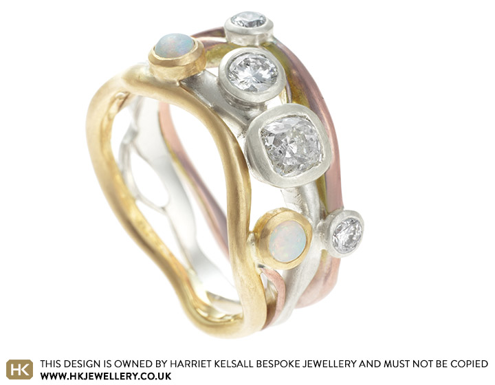 Jans Dramatic Bespoke Combined Engagement And Wedding Ring
