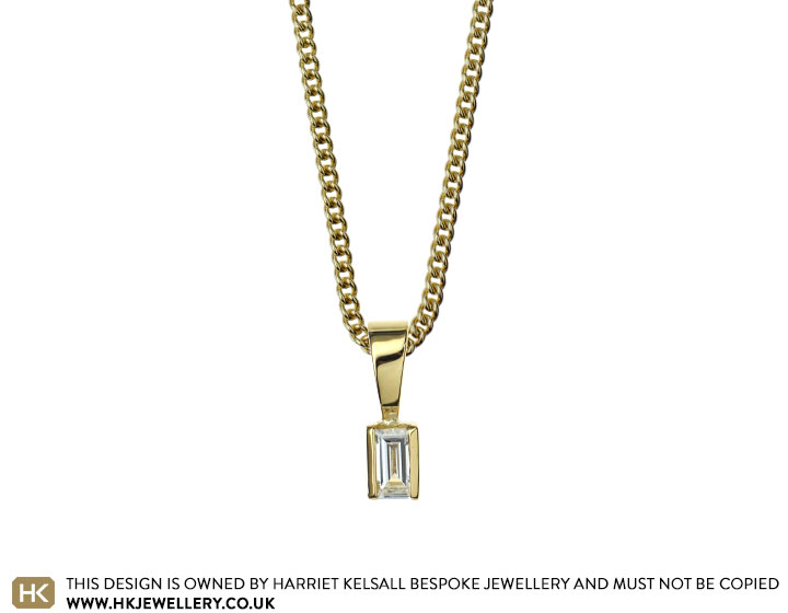 Samanthas 18 carat yellow gold and baguette cut diamond pendant specifications aloadofball Gallery
