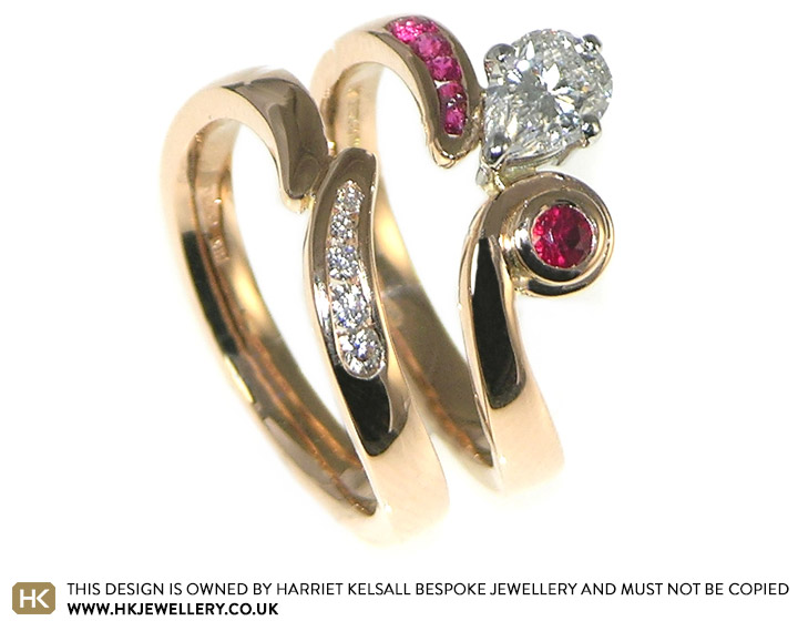18ct Rose Gold Diamond And Ruby Engagement And Wedding Ring Set