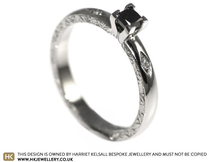 Gothic inspired black diamond palladium engagement ring