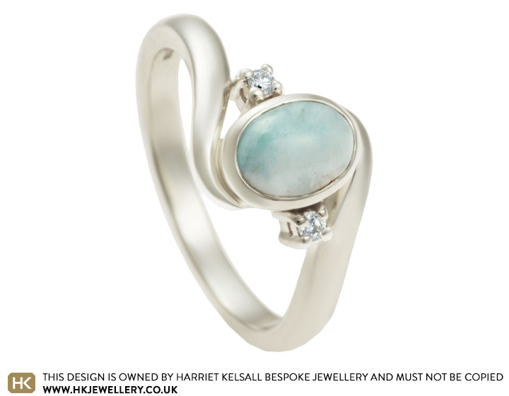 Isabelles larimar and diamond engagement ring