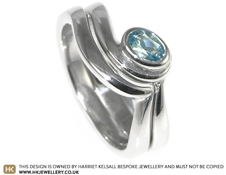 Ocean Inspired Twist Style Sterling Silver Aquamarine Engagement And
