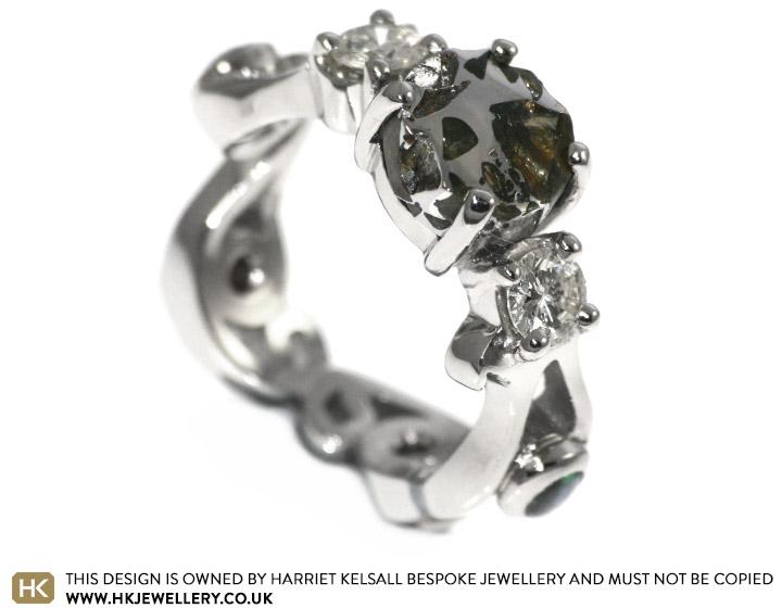 Meteorite Inspired Palladium Diamond And Round Cut