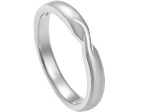 Palladium 25mm wedding band with a Mobius twist and gently curved