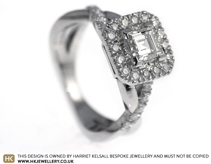 c359c94aef337 Stunning Carre cut diamond cluster engagement ring