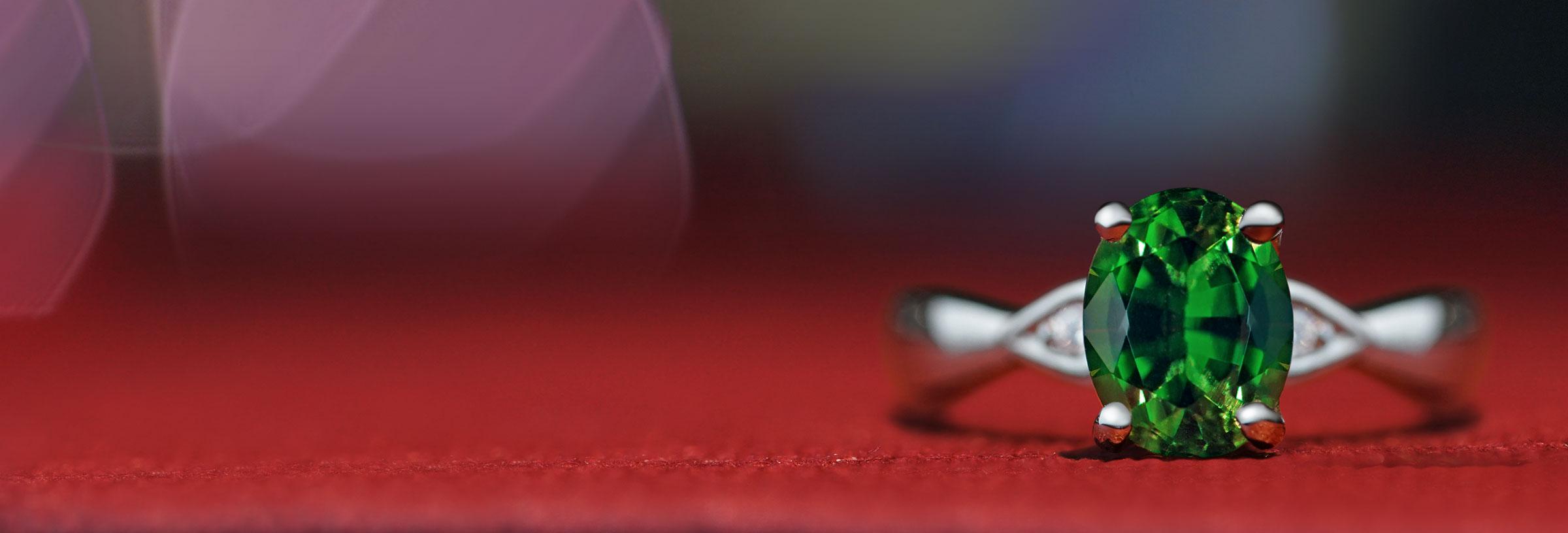 Palladium, 0.91ct oval cut tourmaline and 0.03ct diamond engagement ring