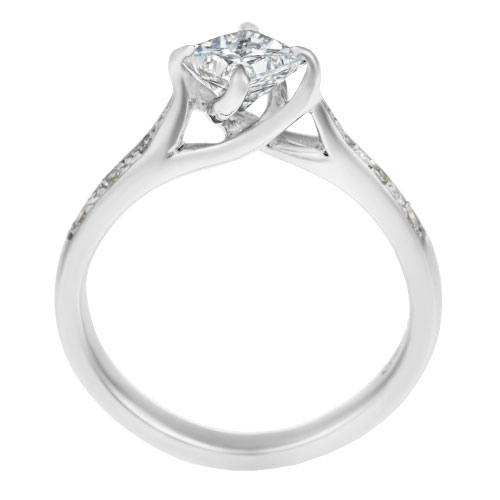 recycled platinum and 0 81ct twist engagement ring