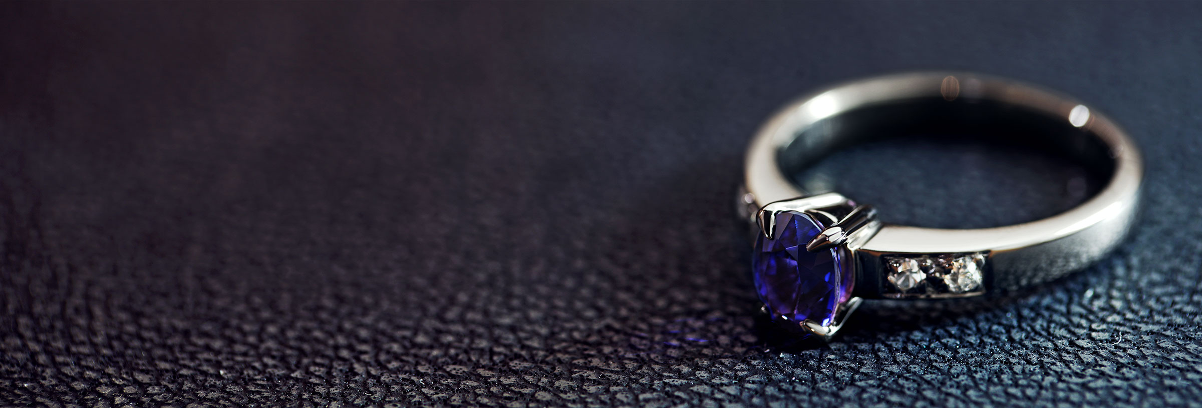 1.09ct colour change sapphire, recycled diamond and 18ct white gold engagement ring