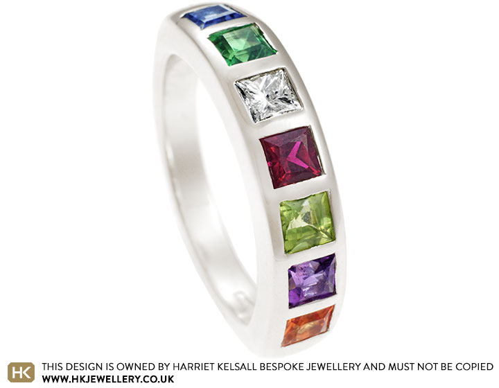 6715bb552f85a Jess's 9 carat white gold and multi-coloured gemstone eternity ring