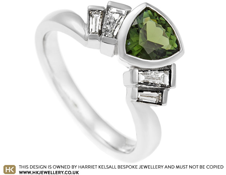 6128cb9292b1f Lucy's Art Deco fan inspired tourmaline and diamond engagement ring