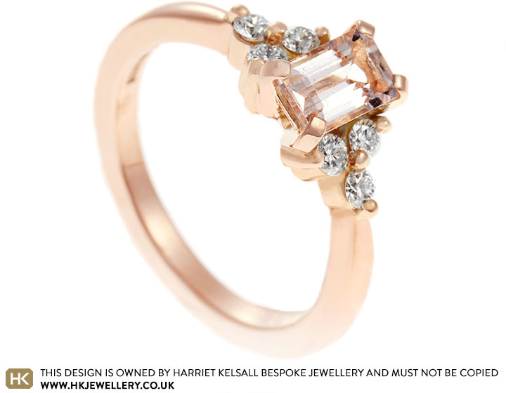 Charlotte S Morganite And Diamond Cluster Engagement Ring