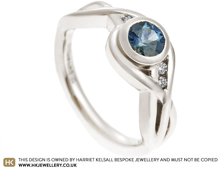 9d05c8b73 Rachel's water inspired Fairtrade 18ct gold and sapphire engagement ring
