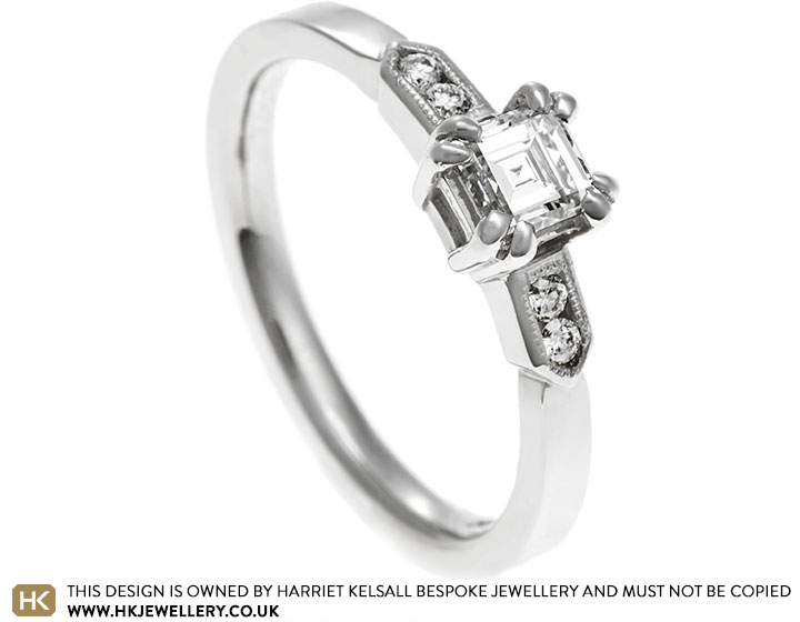 bec351ba4b49f Palladium engagement ring with carre cut and brilliant cut diamonds ...
