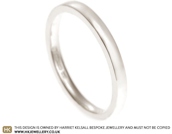 Fairtrade 9 Carat White Gold 2mm Wide Wedding Band With