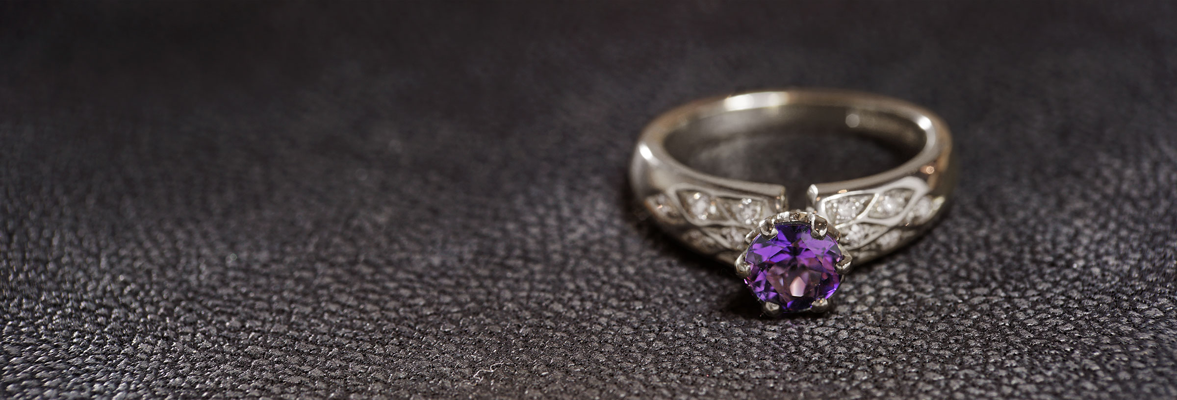 Fairtrade-9-carat-white-gold-amethyst-and-diamond-patterned-ring