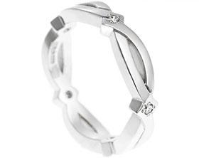 Marquise shaped palladium eternity ring with diamonds