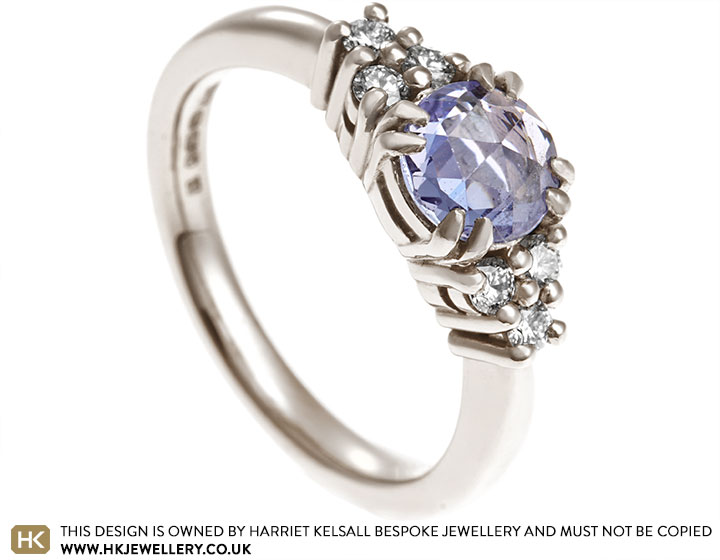 66d132d2e Louise's rose cut sapphire and diamond Fairtrade gold engagement ring