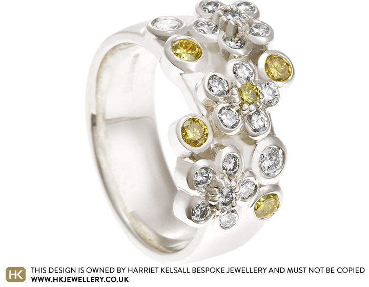 aef9adba1f586 Amina's Floral Dress Ring with Yellow and White Diamonds
