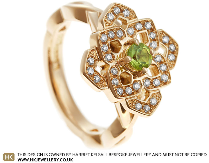 Ariannas Lotus Flower Inspired Peridot And Diamond Engagement Ring