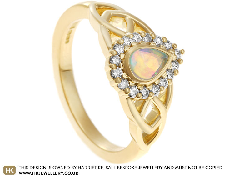 74b5646f9b5b Daniela s Celtic style opal and Fairtrade gold engagement ring