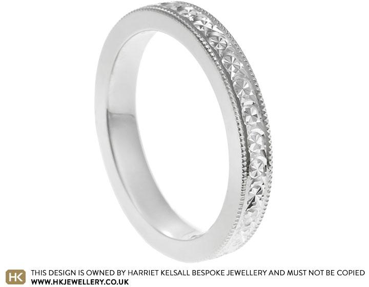 Palladium 3mm Wide Wedding Ring With Diamond Cut Pattern Detailing