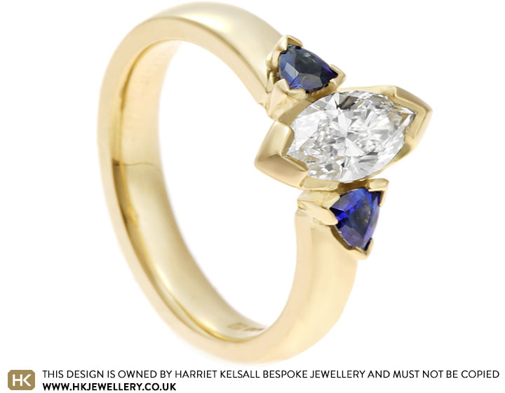 84f4d0c91 Fairtrade 18 carat yellow gold engagement ring with sapphires and ...