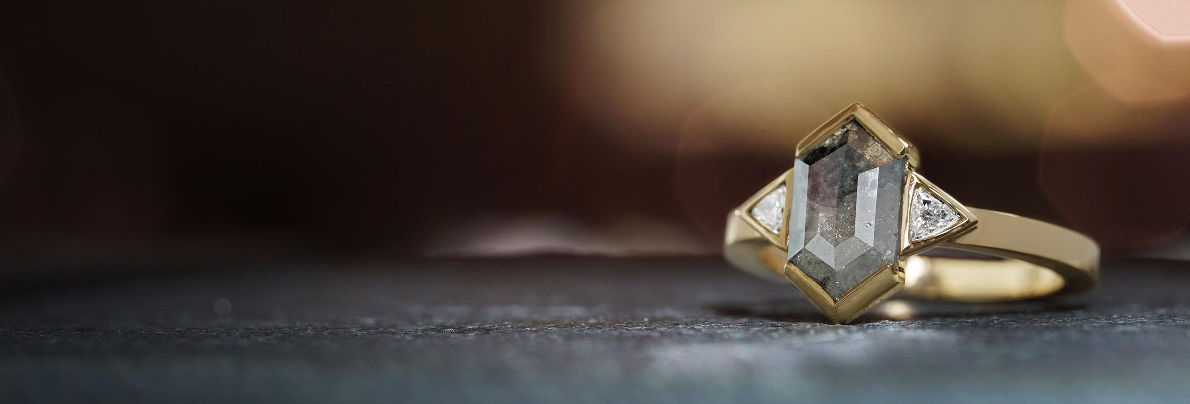 yellow-gold-and-hexagonal-salt-and-pepper-geometric-diamond-engagement-ring