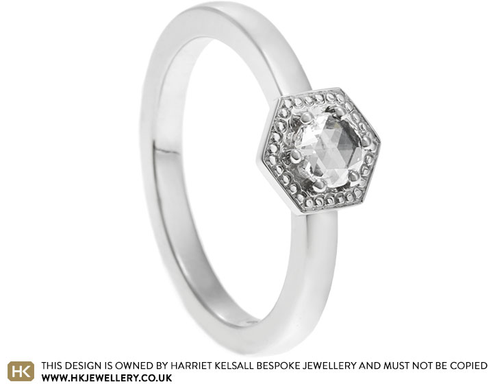 April S Platinum Hexagonal Plate Engagement Ring With Rose Cut Diamond