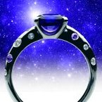 Sapphire Night Sky Engagement Ring