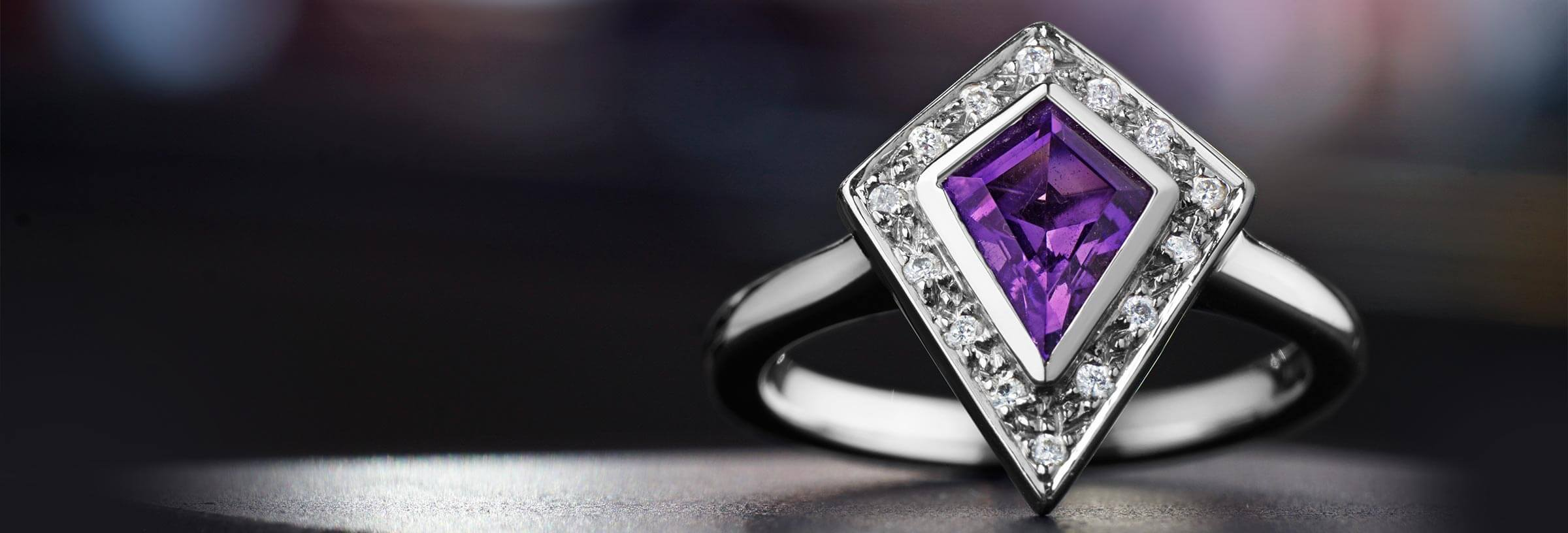 set amethyst square blaze bookends silvet purple diamond ring engagement shop for rings with