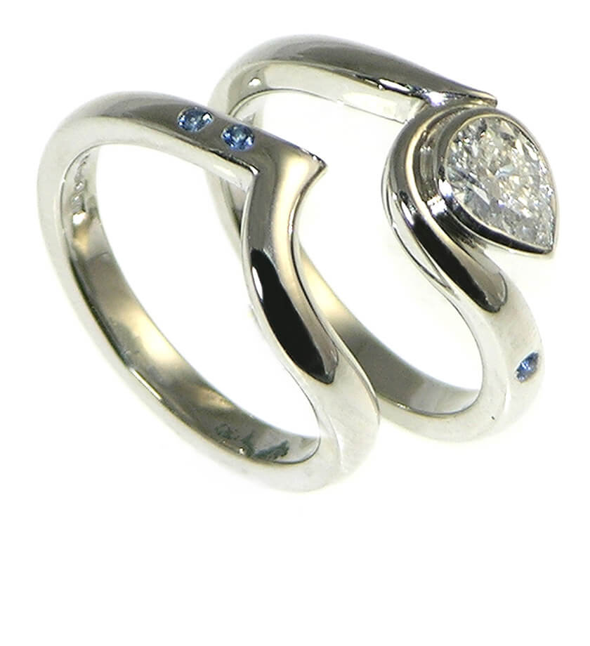 surfer wedding custom rings
