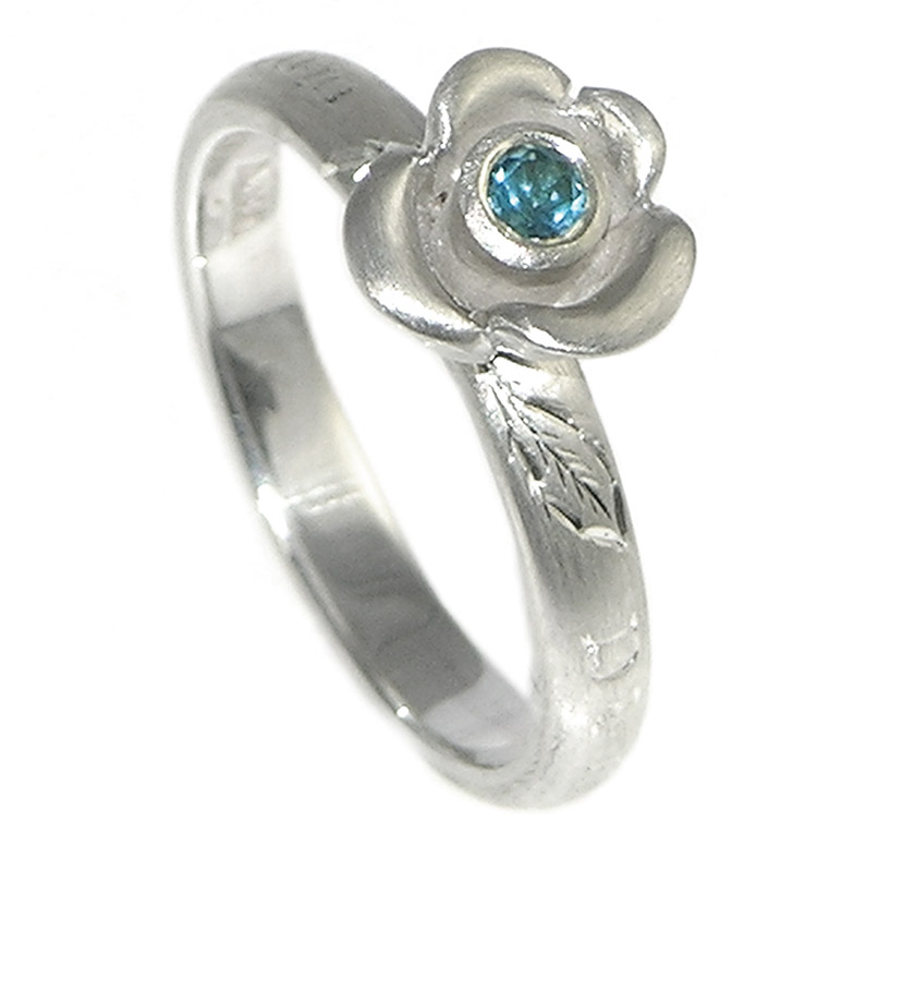 Blue rose inspired engagement ring