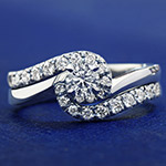 0.51ct Diamond and Palladium Twist Engagement and Wedding Ring Set