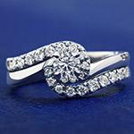 0.51ct Diamond and Palladium Twist Engagement and Wedding Ring Set