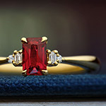 Fairtrade 18 Carat Yellow Gold Ruby and Diamond Engagement Ring